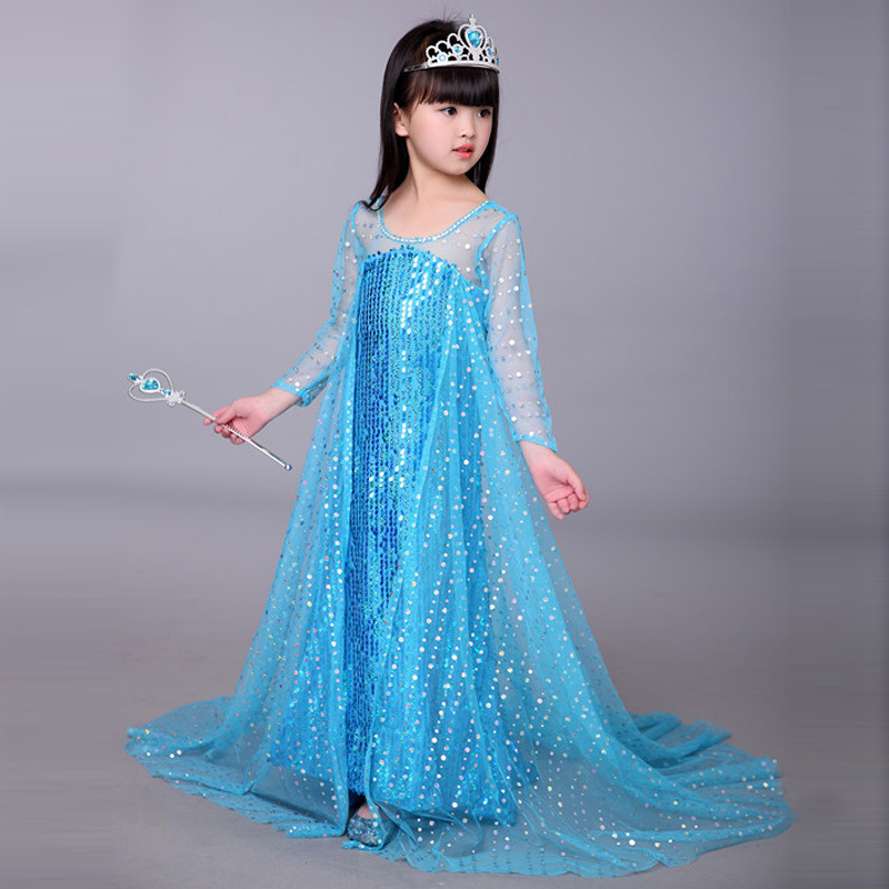Pink Blue Elsa and Anna Dress Royal Birthday Shimmer and Shine for Girls  Princess Kids Evening Dresses Long with Long Sleeves-in Dresses from Mother    Kids ... 47024fcf6940
