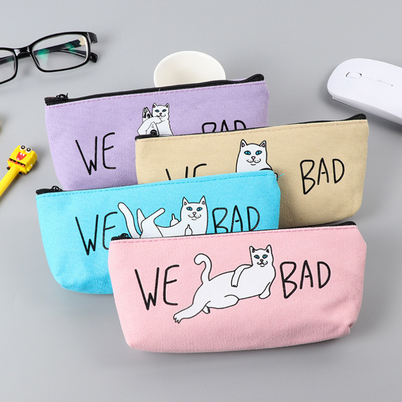 New Bad Cat pencil case cute canvas pencil bag school supplies stationery estojo escolar material escolar pencil case