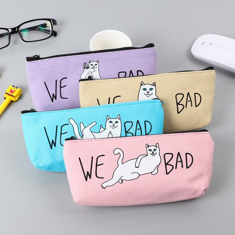 New Bad Cat Pencil Case Cute Canvas Pencil Bag School Supplies Stationery Estojo Escolar Material Escolar Pencil Case