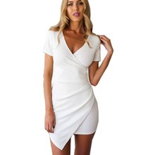 Womens Summer V-neck Mini Dress Bodycon Short Sleeve Party Dresses