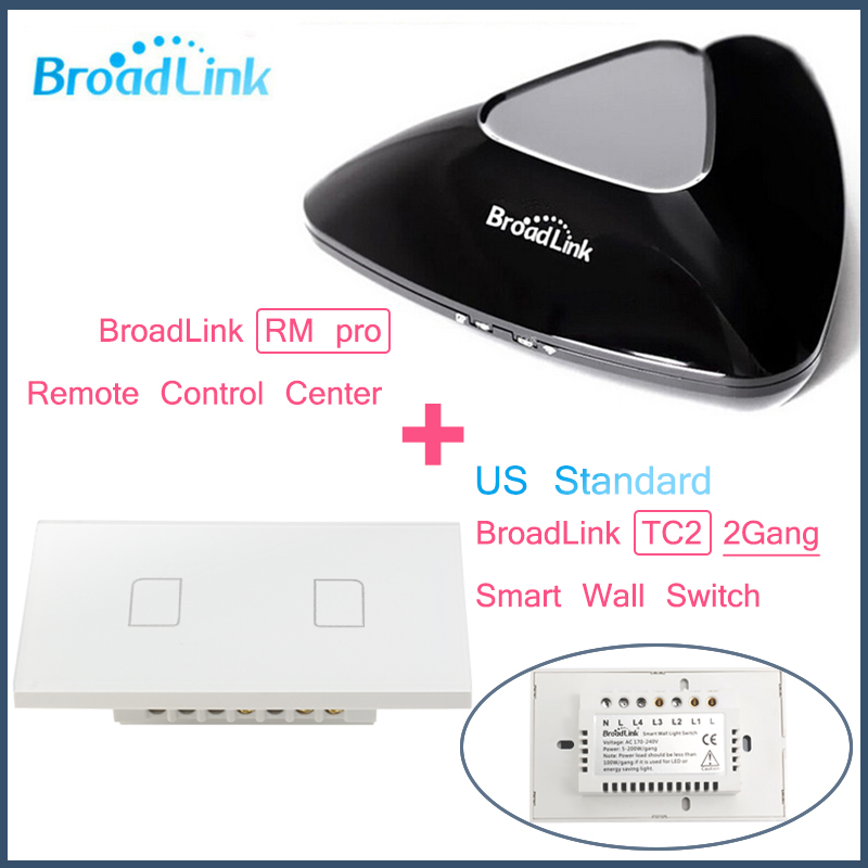 ФОТО Broadlink RM PRO+2Gang TC2 US Standard,Intelligent WIFI+IR+RF Control+ON/OFF Touch remote Wall Lamp Switch,Smart Home Automation