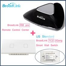 TC2 Broadlink RM PRO + 2 Gang EUA Padrão, Controle Inteligente WIFI + IR + RF + ON/OFF Toque remoto Interruptor Da Luz de Parede, Casa Inteligente de Automação