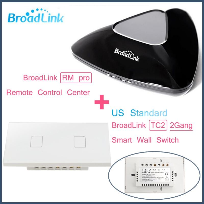 Broadlink rm pro + 2 gang tc2 ee. uu. estándar, control inteligente wifi + ir +