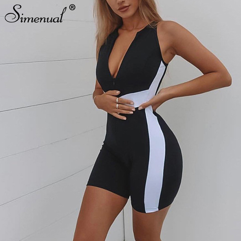 Simenual Fitness Sexy Active Wear Women Sporty Playsuit Patchwork Push Up Biker Shorts Zipper Play Suits Sleeveless Athleisure