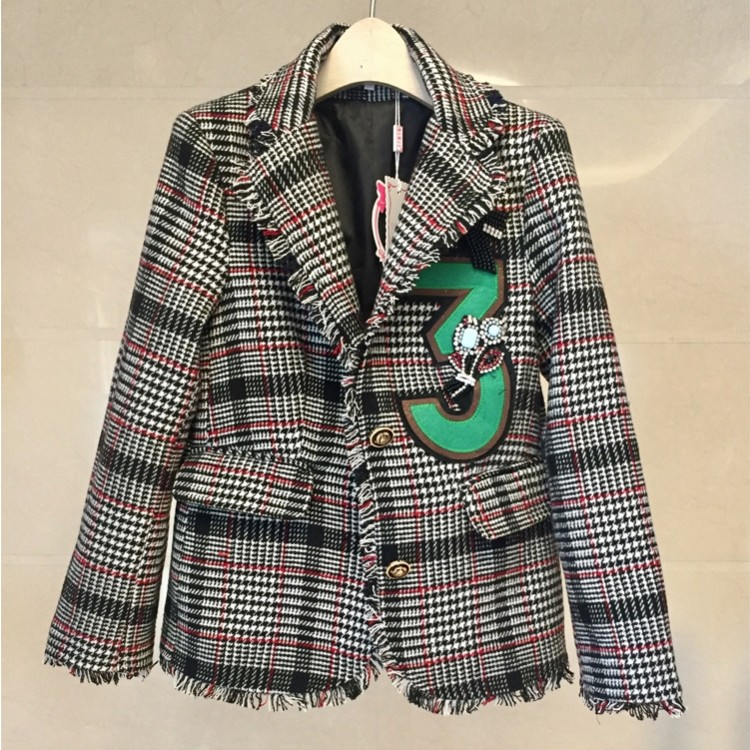 New 2019 Women Runway Diamonds Wool Tweed   Jacket   Coat Notched Golden single-breasted Plaid Tassels   Basic     Jacket   Outerwear