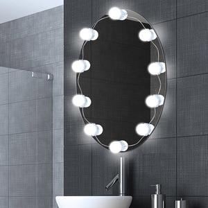 Image 4 - Specchio per il trucco Luce Lampadine Kit 10 USB LED Luci Della Stringa Regolabile Luminosità Cosmetici Light Tocca Controllo Vanity Specchi Lampada
