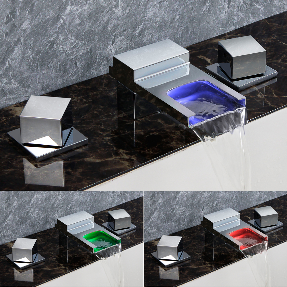 Salle de bain LED cascade robinet évier bassin mélangeur chromé poli pour robinet de bain