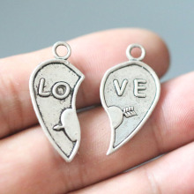 Love Heart Pendant Charms for Jewelry Making DIY Handmade Bracelets Necklace Vintage Tibetan Silver Accessories 5 pair/lot
