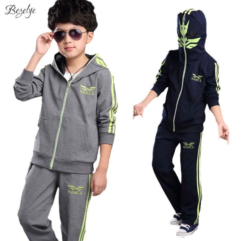 цены  New Kids Hooded Sweatshirt+Pants Autumn Boys Sports Suit Long Sleeve Children Clothing Sets Fashion Novel Kids Hooded Sweatshirt