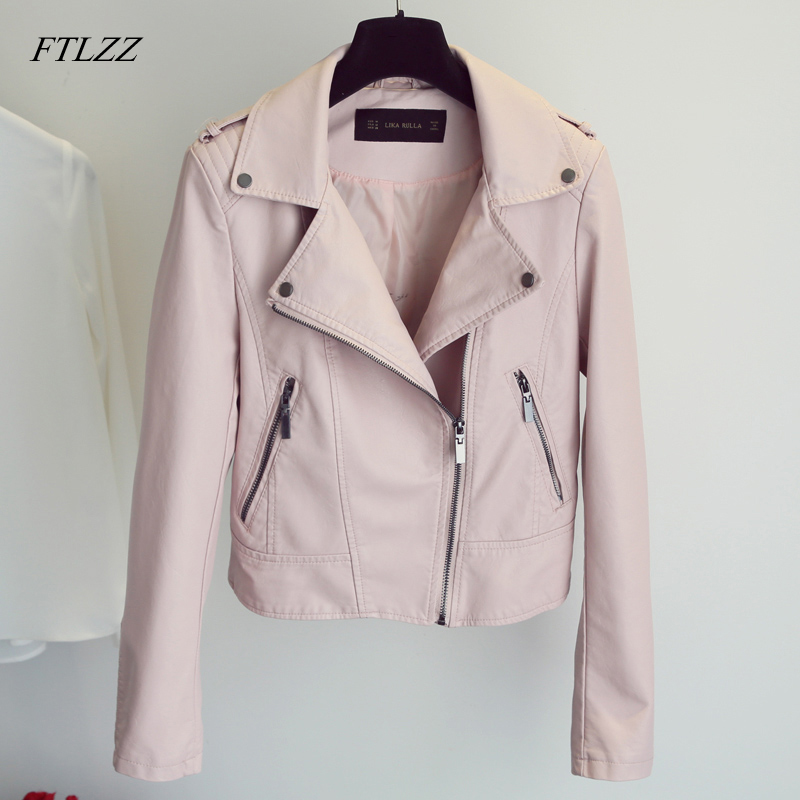 FTLZZ Spring 2019 Motorcycle PU   Leather   Jacket Women Fashion Biker Coat Zipper Street Outerwear Jacket