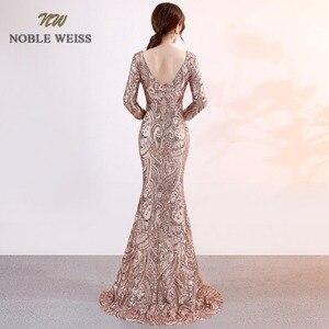 Image 2 - prom dresses 2019 sexy long mermaid prom dress vestidos de fiesta largos v neck backless side slit sequin evening gowns