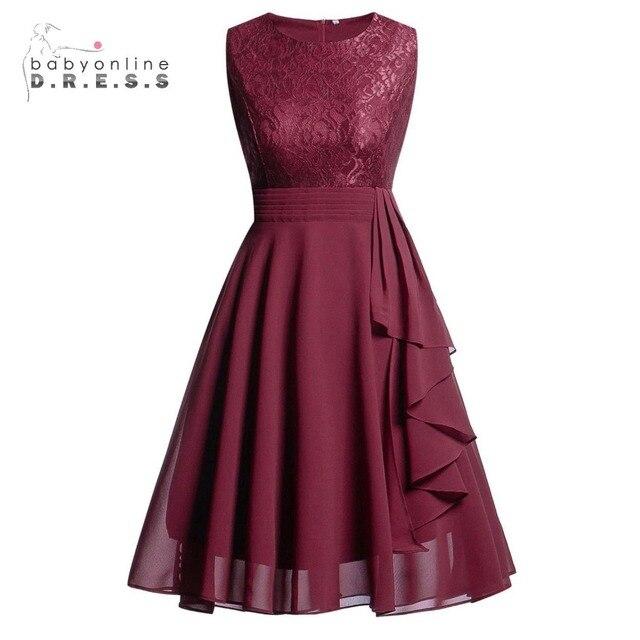 Robe de Soirée Babyonline Borgonha Do Vintage Laço Curto Vestidos de Noite 2019 Na Altura Do Joelho Formal Vestido Das Mulheres Do Partido Vestido de Noite
