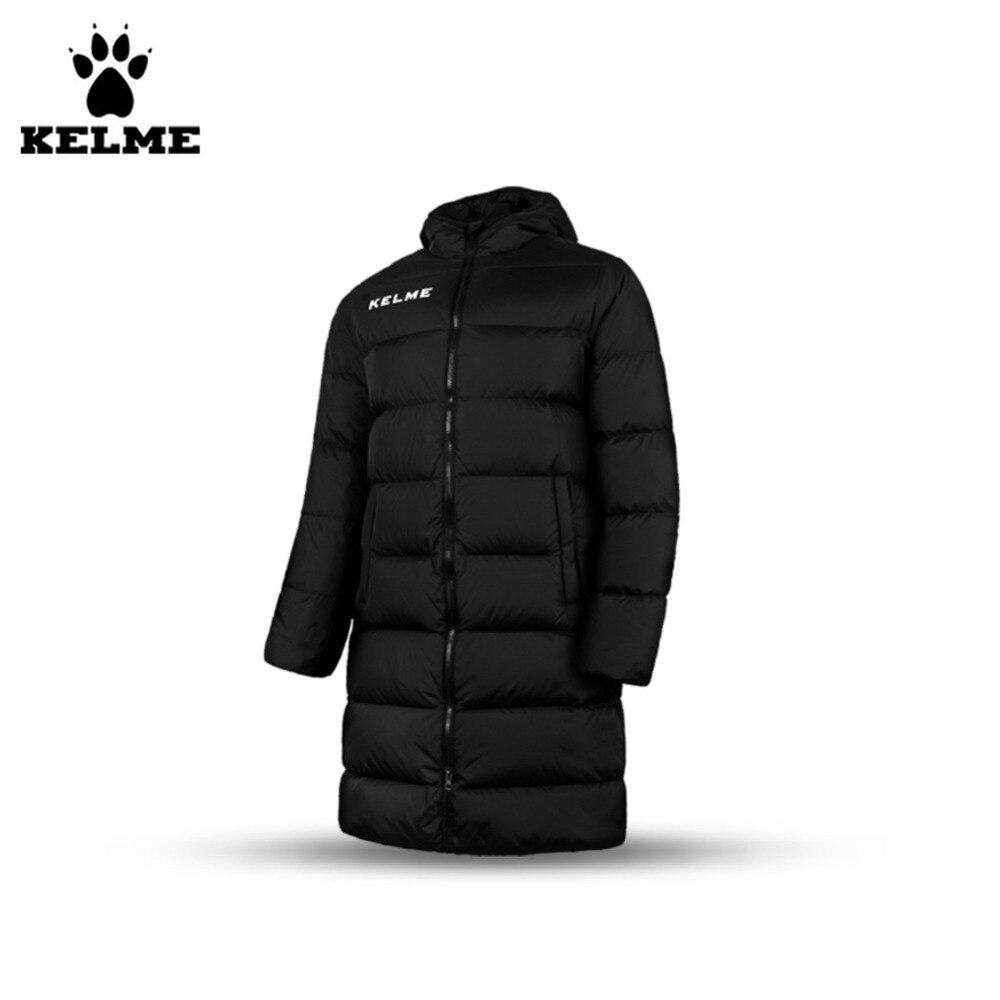 Кельме K15P012 мужчины свободные длинным теплый с капюшоном пуховик черный