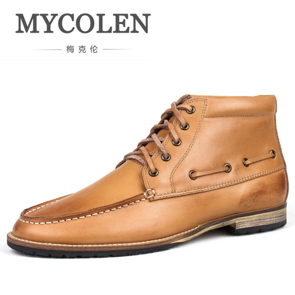 все цены на MYCOLEN Men'S Boots Lace-Up Boot Ankle Men Boots Genuine Leather Men Shoes Genuine Leather Winter Shoes Mens Fashion Boots онлайн