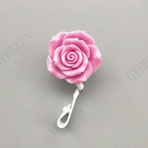 Image 3 - 15Pcs/Lot Colorful Resin Rose Design Nurse Retractable Badge Reel Holder Pull ID Card Badge Holder Belt Clip Hospital School