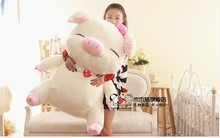 lovelt big pig doll cute smile plush pig toys birthday  gift about 90cm white and pink