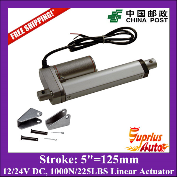 Free Shipping DC 12V/24V 5inch/125mm stroke 1000N/100kgs load electric linear actuator with mounting brackets free shipping dc 12v 24v 9inch 225mm linear actuator 1000n 100kgs load electric linear actuator with mounting brackets