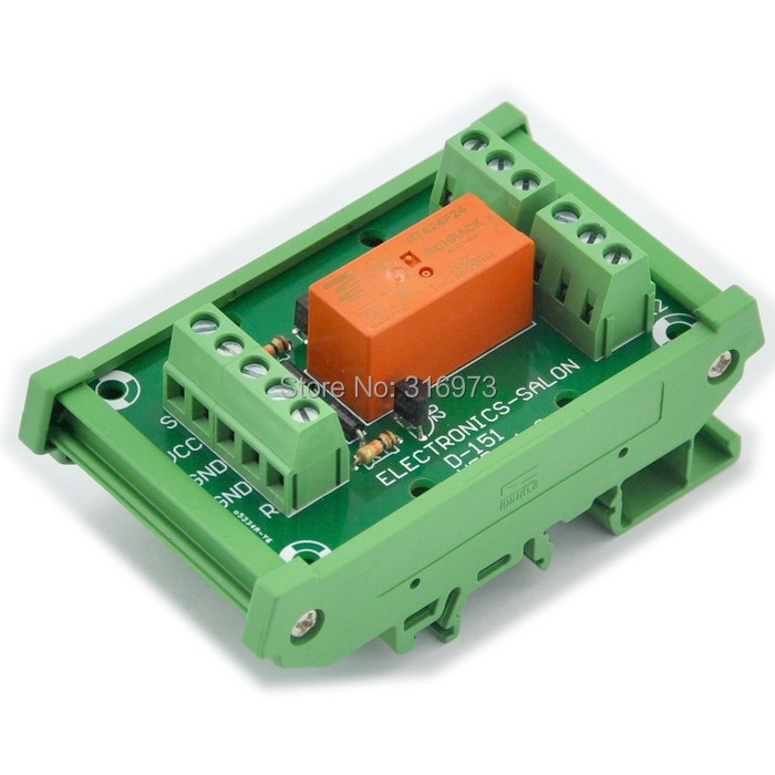 Bistable DPDT 8 Amp Relay Module, DC24V Coil, with DIN Rail Carrier Housing
