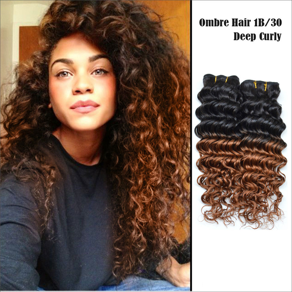 3pcs Lot 8a Ombre Human Hair Extensions Malaysian Curly Hair Weaves 1b 30 Black Amp Dark Blonde