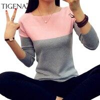 TIGENA Jesień Zima Sweter Kobiet 2017 Dzianiny Wysokiej Elastyczna Jumper Kobiety Swetry I Pulowery Kobiet Pull Femme Topy Koszulka