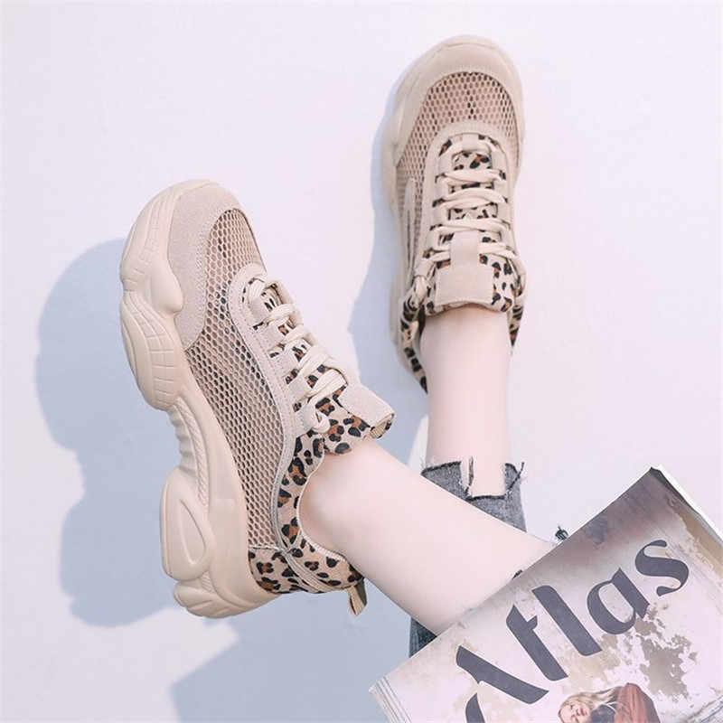 ASUMER 2019 nieuwe flats schoenen vrouwen ronde neus lace up mesh Ventilatie sneakers vrouwen platte platform dames schoenen Luipaard Print