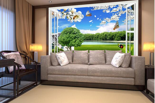 D Wallpaper Custom Mural Non Woven Wall Stickers The Stereo Window Scenic Landscapes Tv Setting Wall D Wall Murals Wall Paper In Wallpapers From Home