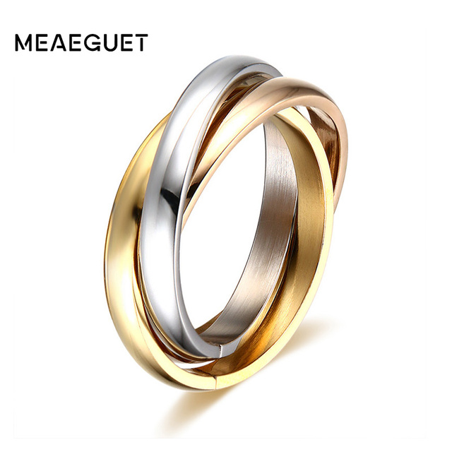 Meaeguet Classic Party Finger Ring 3 Rounds Gold Color Wedding Bands Rings For W