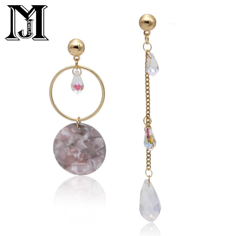 JiaMu Fashion AB design stud long Acrylic natural zircon tassel earrings for women party wedding hand make jewelery delicate