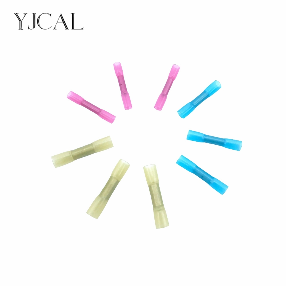 цена на 100pcs BHT1.25 BHT2 BHT5 Water Proof Insulated Nylon Heat Shrink Butt Wire Electrical Crimp Terminal Connector Red Blue Yellow