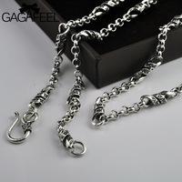 GAGAFEEL 925 Sterling Silver Men's Long Mantra Words Link Chain Necklaces Retro Fashion Thai Silver Unisex Man Women Jewelries