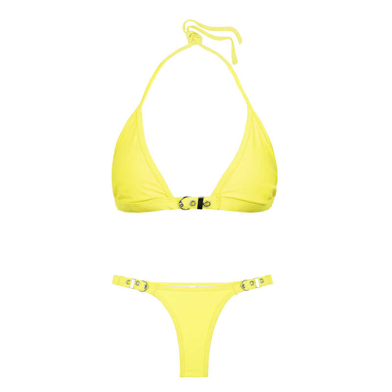 a00b8ee962666 ... Bikinx Halter triangle bikini 2018 thong women brazilian swimsuit  Yellow swimwear female push up bathing suit ...
