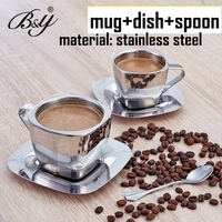 stainless steel fashion coffee cup set double layer stainless steel cup +dish+ spoonfuls birthday brief gift Free Shipping