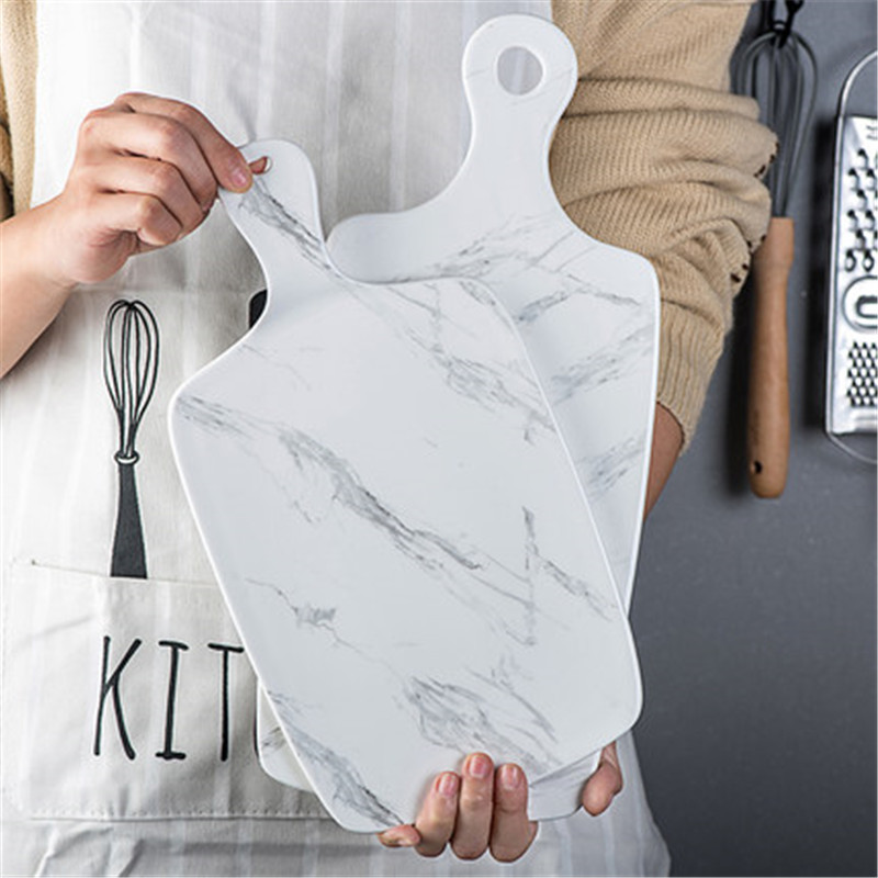 Chic Marble Plate Dessert Bread Sushi Fruits Cake Plate Pizza Peel Steak Western Food Tray Dishes With Handle Home Dinnerware