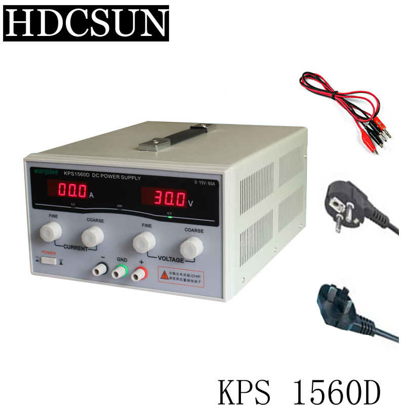 KPS1560D High precision Adjustable LED Dual Display Switching DC power supply 220V EU 15V/60A high quality wanptek kps1560d high precision adjustable display dc power supply 15v 60a high power switching power supply