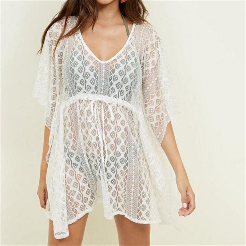 <font><b>White</b></font> Lace Cover Ups Swimwear 2019 Summer <font><b>Sexy</b></font> <font><b>Bikini</b></font> Pareo Beach Cover Ups Beachwear Women Dress Bathing Suit Cover up image