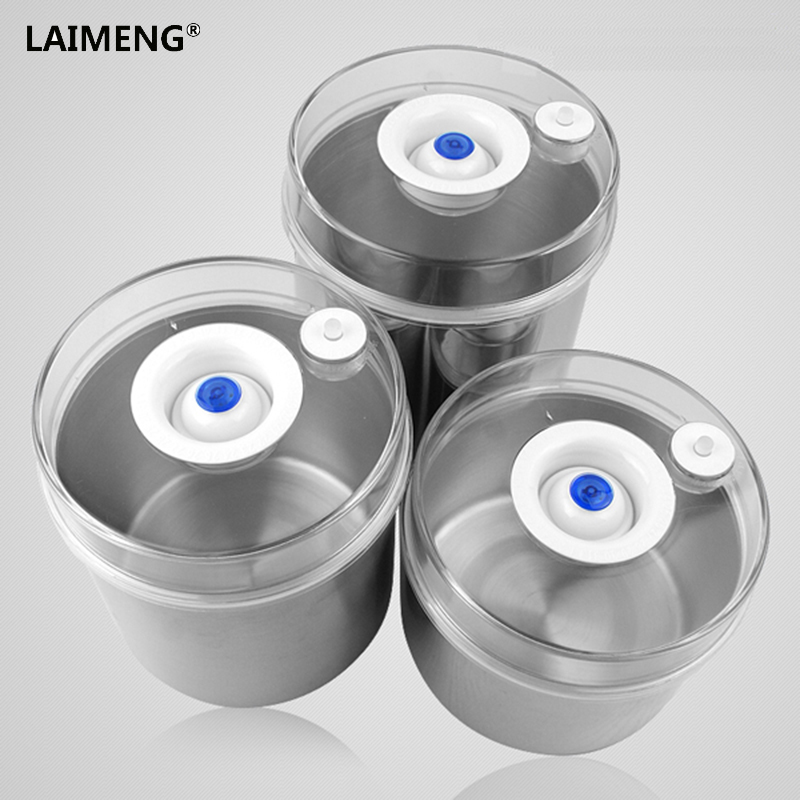 Laimeng Vacuum Container For Food Storage Containers Airtight Stainless Canister with Pump Work with Vacuum Sealer 2pcs/Lot S164Laimeng Vacuum Container For Food Storage Containers Airtight Stainless Canister with Pump Work with Vacuum Sealer 2pcs/Lot S164