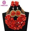 Orange Коралловые Бусы Набор 2017 Новый Нигерии Африканский Свадьба Бусы Ожерелье Комплект Ювелирных Изделий Женщины Подарок Комплект Бесплатная Доставка HX567