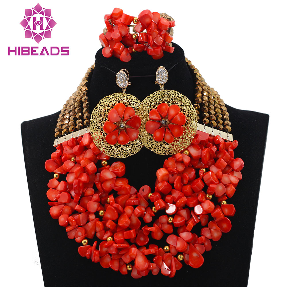 Orange Coral Beads Set New Nigerian Wedding Necklace African Beads Jewelry Set Women Gift Set Free Shipping HX567 marvelous orange african coral beads jewelry set nigerian wedding african beads necklace set 2016 new free shipping cj461