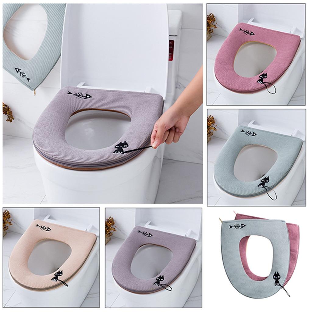 Eerzuchtig 2019 Nieuwe Leer Warme Kitten Borduren Badkamer Protector Closestool Soft Warmer Alle Vorm Wc Cover Seat Deksel Pad