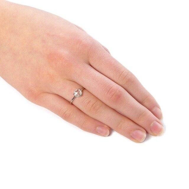 0.87Carat 6.5mm Rose Brilliant Cut DEF Color Moissanite Wedding Ring 18k White Gold For Women Fine Ring 5