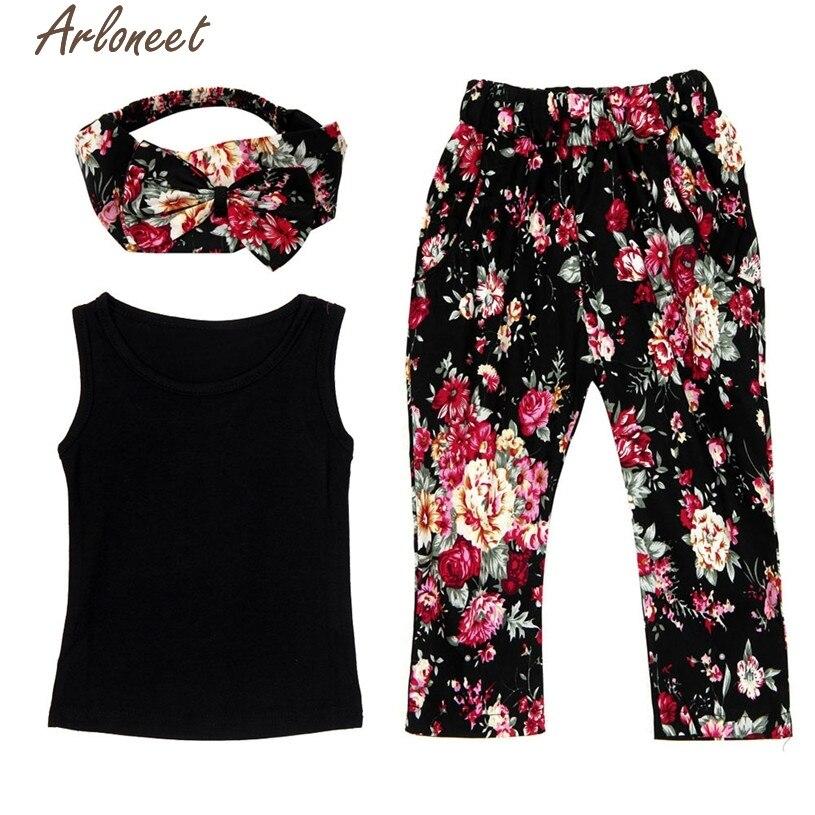 ARLONEET Christmas Pajamas Dress For Baby Girls Baby Girls Sleeveless Shirt/Tops + Floral Pants + Hair Band Set Clothes &