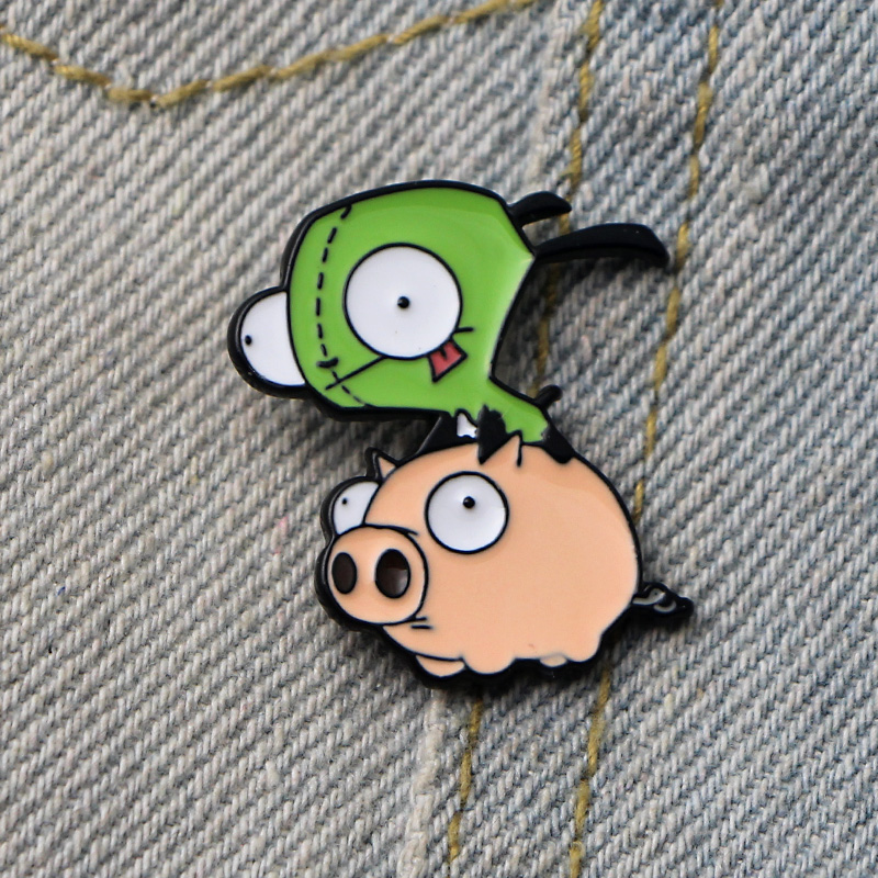 DMLSKY Alien Invader ZIM Art Enamel Pins and Brooches Lapel Pin Backpack Bags Badge Clothing Decoration Gifts M3350 in Brooches from Jewelry Accessories