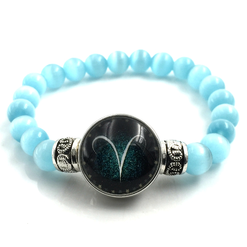 8mm Light Blue Cat Eye Opal Bead Bracelets For Women Men Jewelry 12 Constellations Zodiac Sign Snap Button Charm Pulseira B18006
