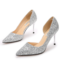 Sexy 8CM High Heels Dress Pumps Women Elegant Fashion Crystal Sequin Party Pointed Toe Wedding Thin Heels Shoes Plus Size E0027 11 43 10 42 size 33 low heels women thin satin shoes pumps polka dot green plus big strap 8cm high slingback pointed toe dress