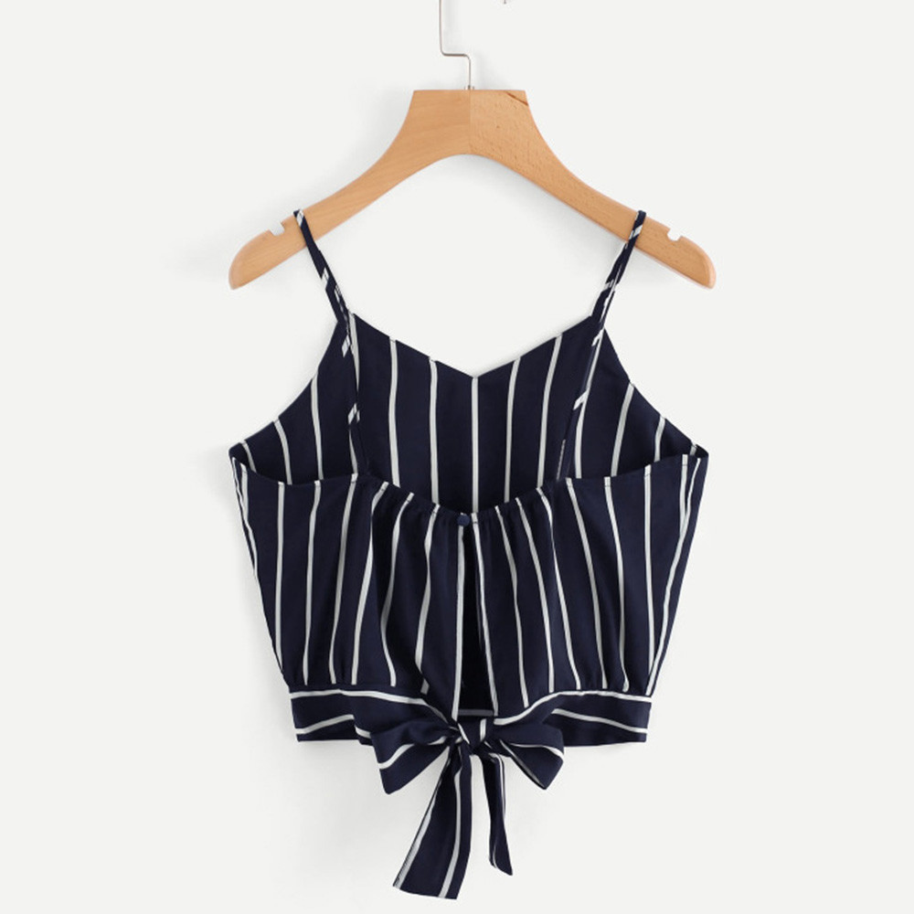 new 2020 Women's crop top Self Tie Back deep V Neck Striped Crop Top Camisole tank top cropped