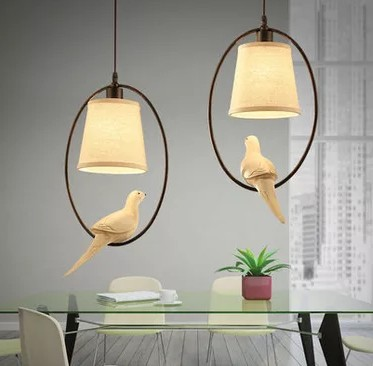 American Village Bird Droplight Modern LED Pendant Light Fixtures For Dining Room Bar Hanging Lamp Indoor Lighting Lustres modern wicker pendant light bird cage hand knitting pendant hanging dining room lamp american style for living room lighting