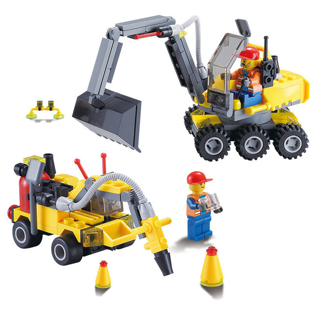 196pcs DIY City Engineering Team Assemble Toy Excavator Small Particles Building Blocks