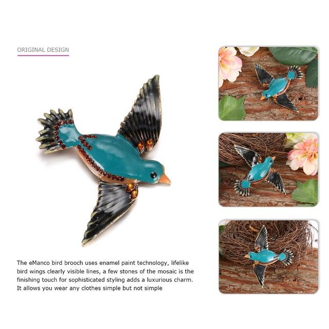Cute Enamel Bird Brooch