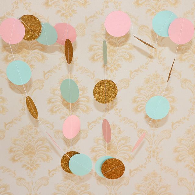 d738b45418c7 200pack Circle Dots Paper Party Garland Backdrop(2 Meter Long) Mint Pink  Cream White Gold Glitter for Party Wedding Decorations