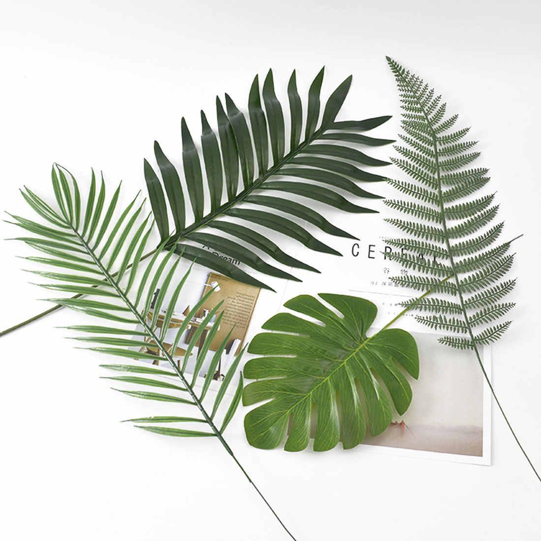Plantas artificiais 5 10 pçs grande falso artificial monstera palmeira folhas verde folha de plástico para o casamento diy decoração de mesa